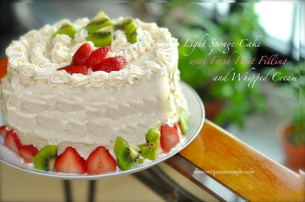 Fresh Fruits Cake Recipe  Sponge Cake with Fresh Fruit and Whipped Cream