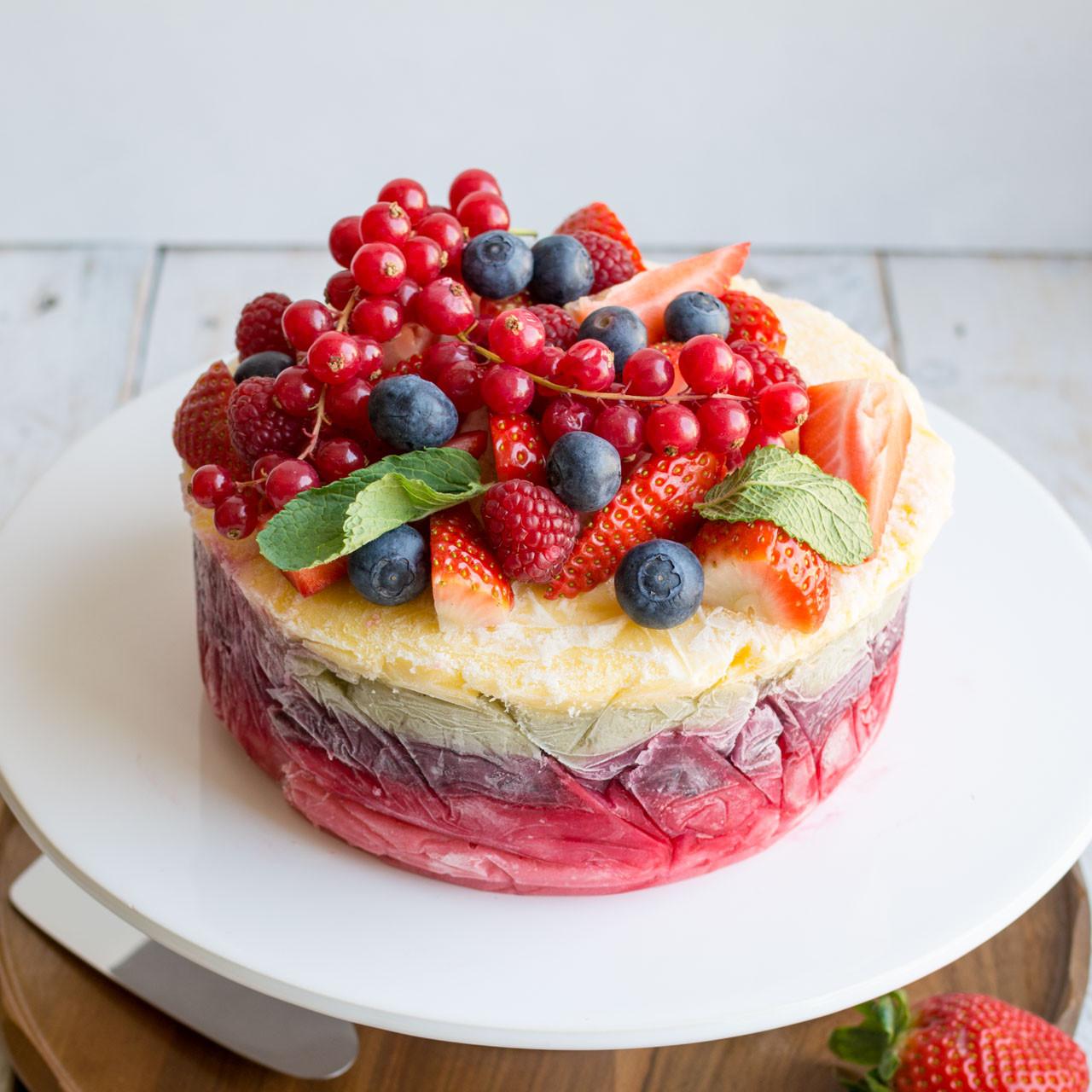 Fresh Fruits Cake Recipe  Fresh Fruit Frozen Yoghurt Layer Cake