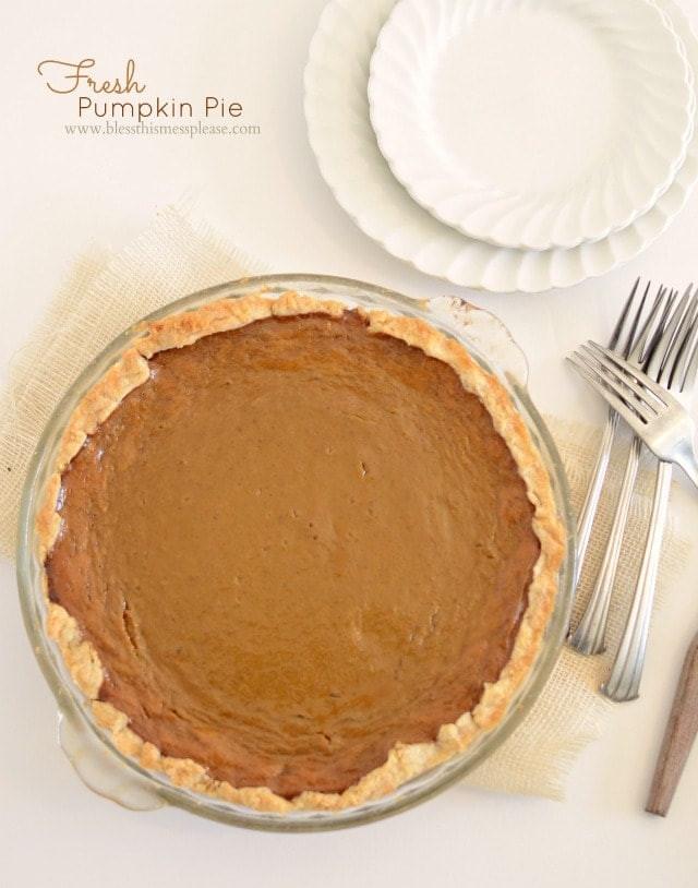 Fresh Pumpkin Pie Recipe  Pumpkin Pie from Fresh Pumpkin Bless This Mess
