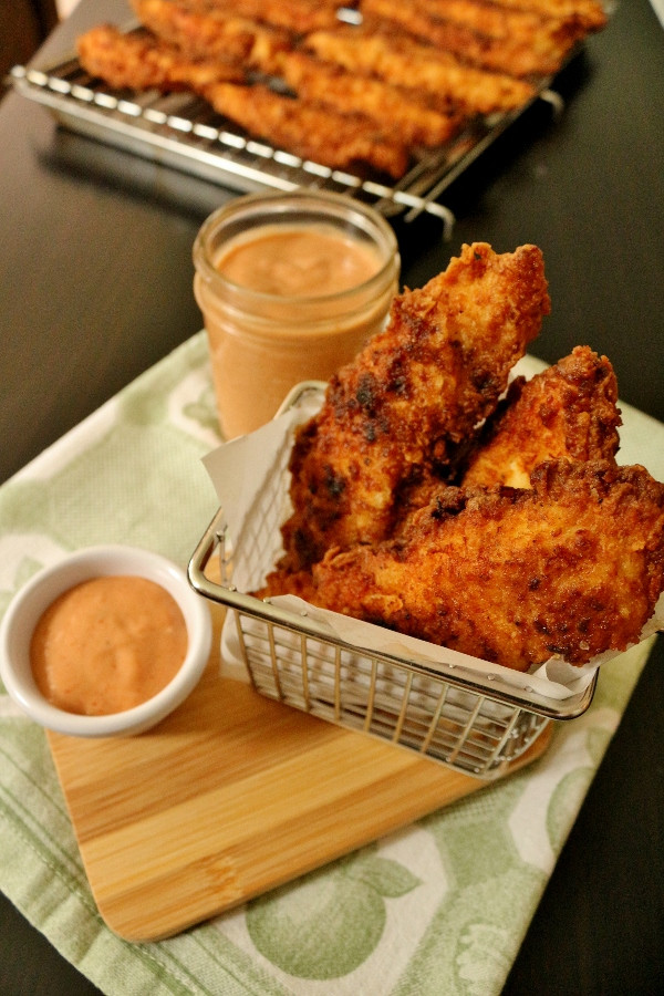 Fried Chicken Fingers  Mission Food Fried Chicken Fingers with eback Sauce