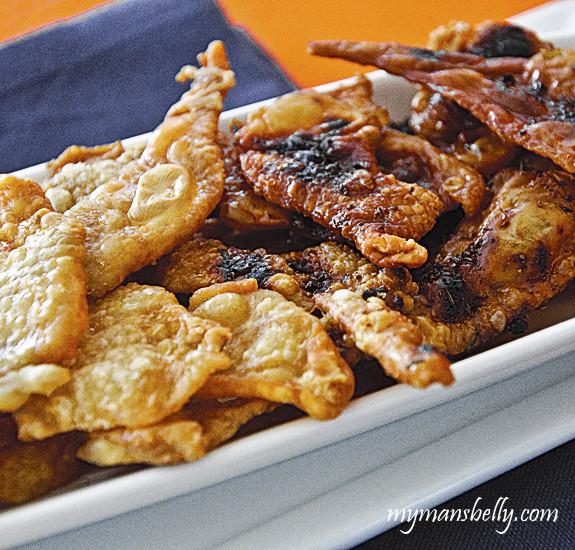 Fried Chicken Skin  Super Bowl Snacks Crispy Fried Chicken Skin