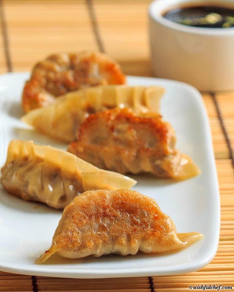 Fried Pork Dumplings  Pan Fried Pork Dumplings with Mushrooms Wishful Chef