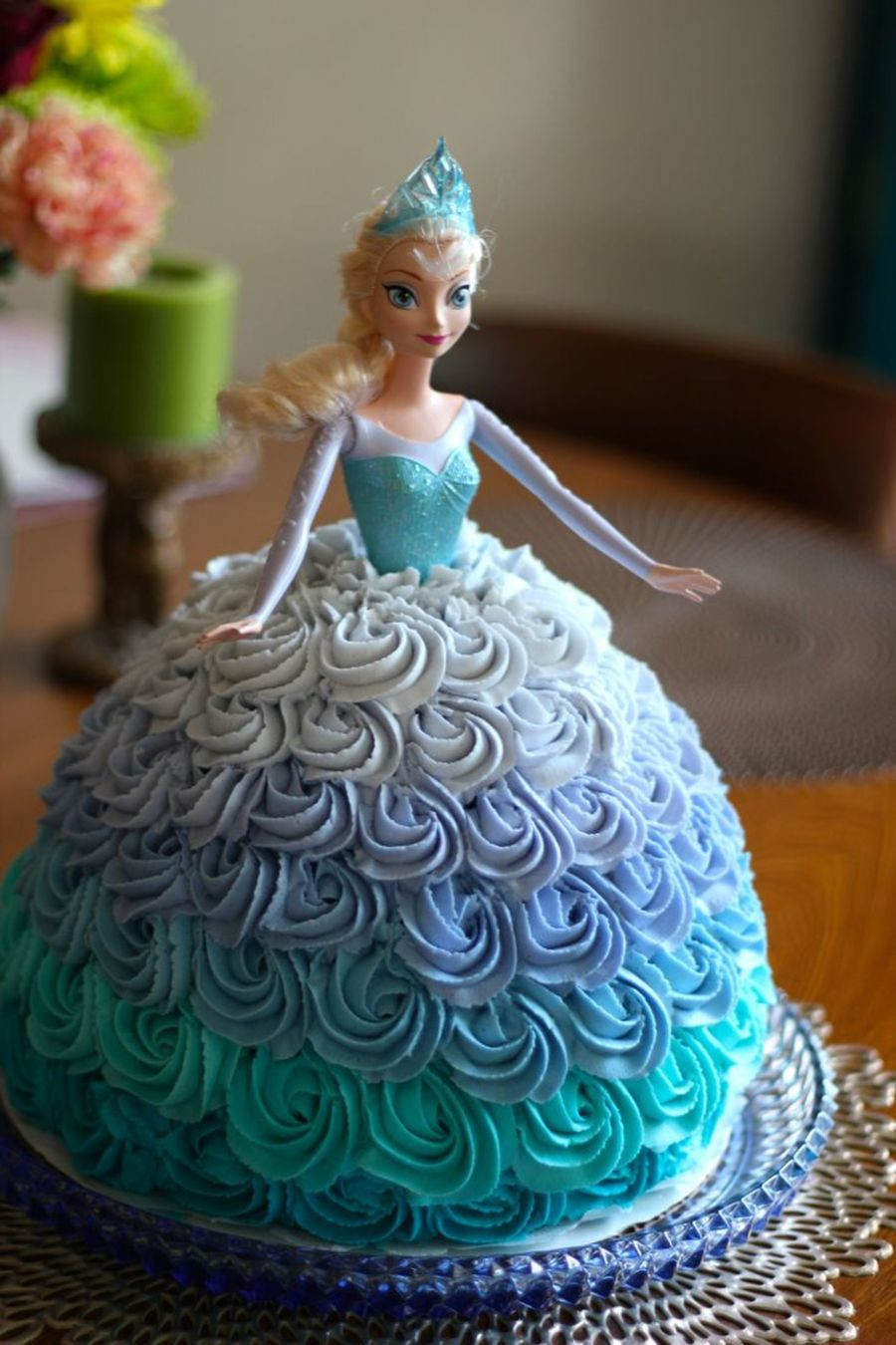 Frozen Birthday Cake  Elsa Doll Cake For A Frozen Themed Birthday Party