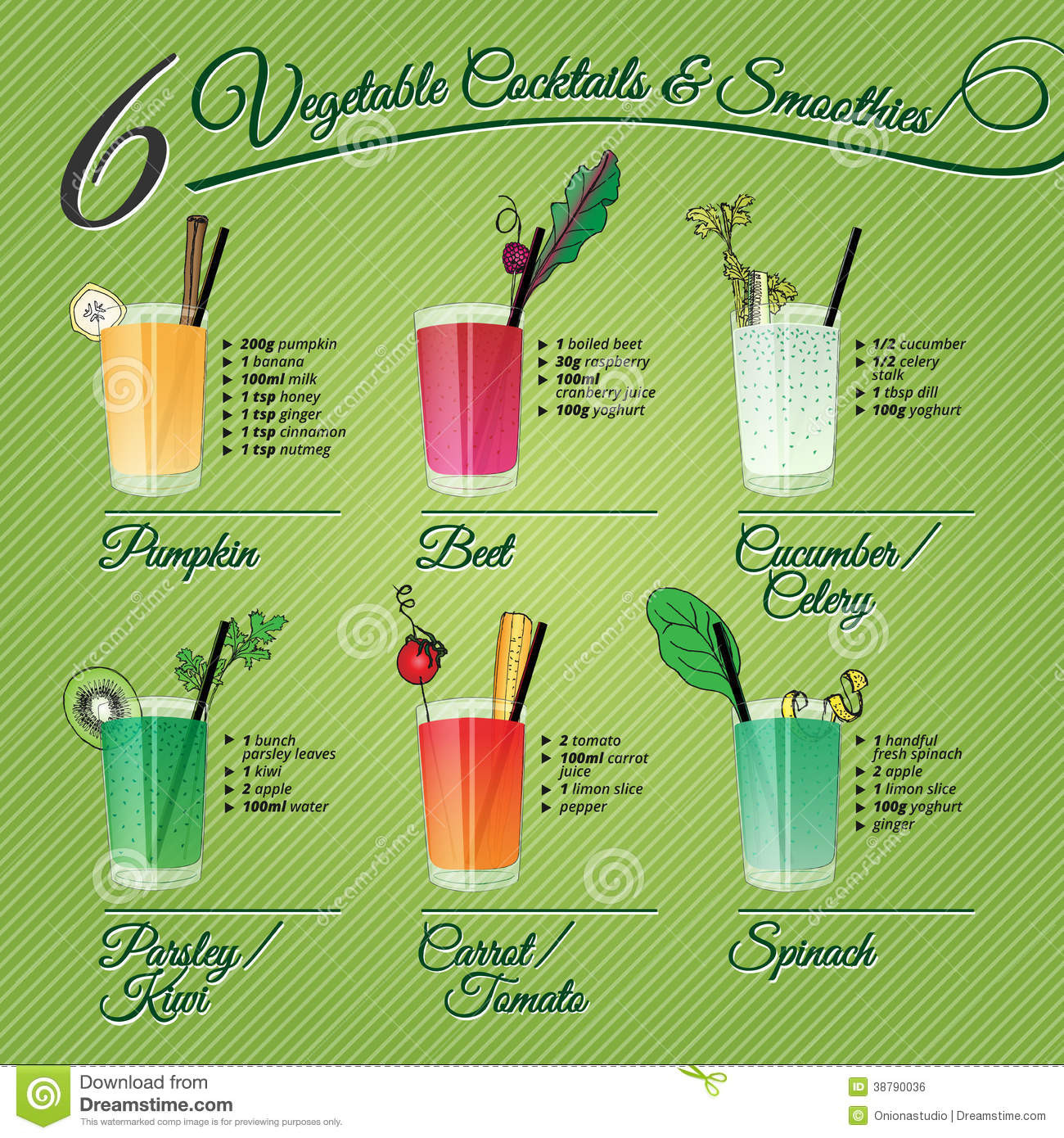 Fruit And Veg Smoothies Recipes  Six Fresh Ve able Cocktails & Smoothies Stock Vector