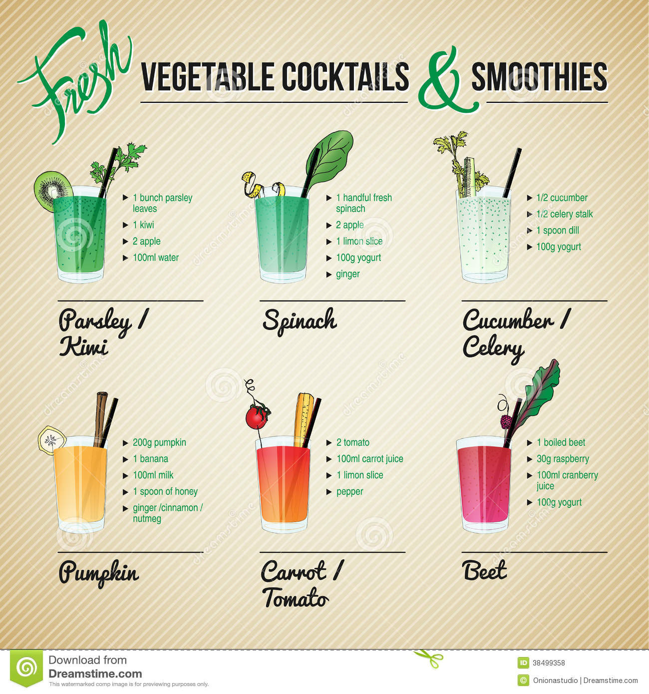 Fruit And Vegetable Smoothie Recipes  Fresh Ve ables Cocktails And Smoothies Stock Vector