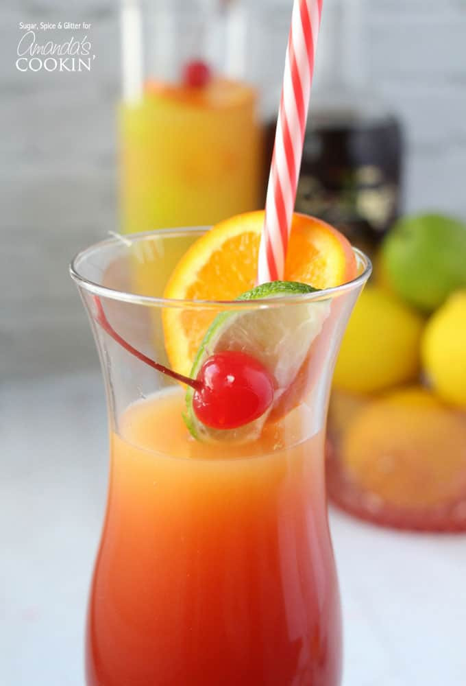 Fruity Drinks With Rum  Rum Punch Cocktail it s a Caribbean sunset in a glass