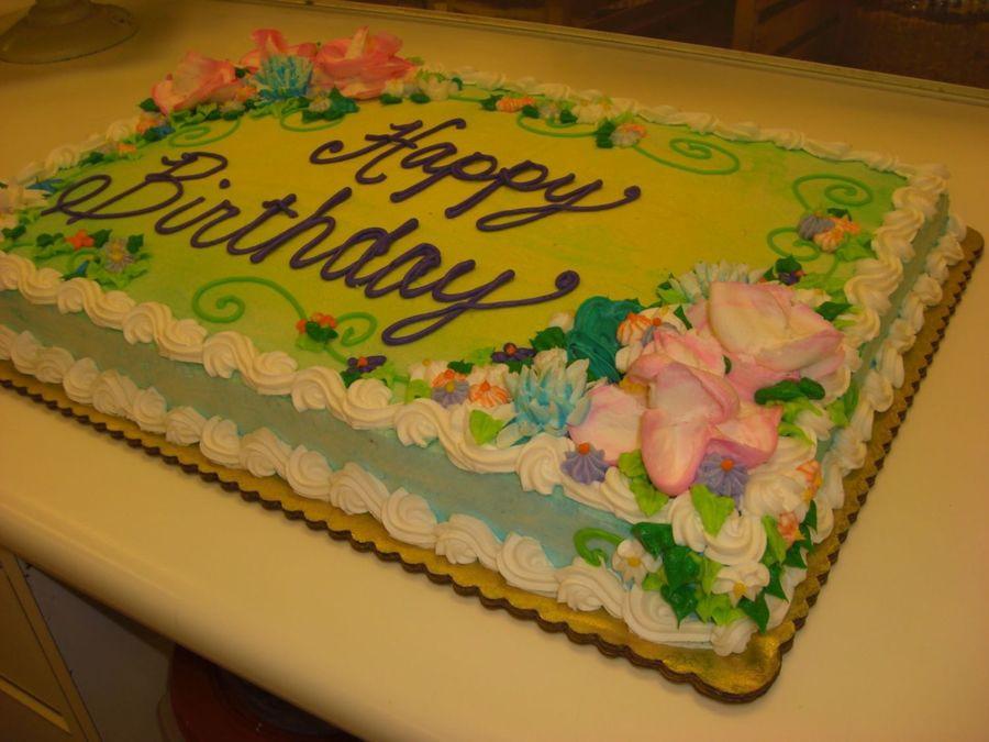 Full Sheet Cake  Floral Full Sheet Birthday Cake CakeCentral