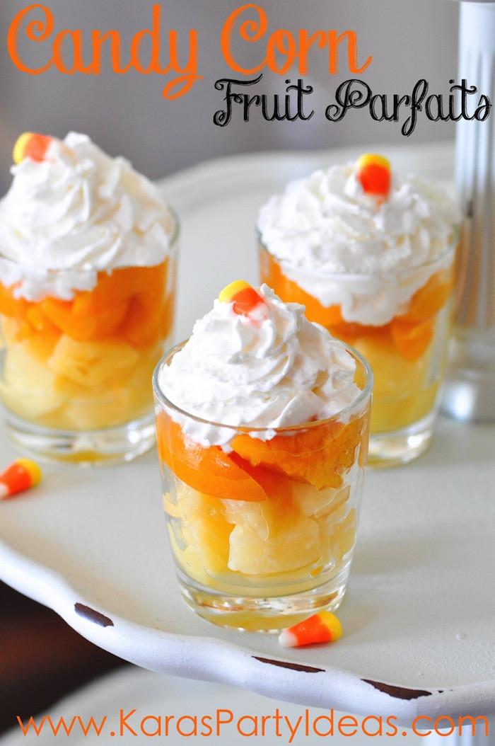 Fun Easy Dessert Recipes  Kara s Party Ideas Halloween Candy Corn Fruit Parfait