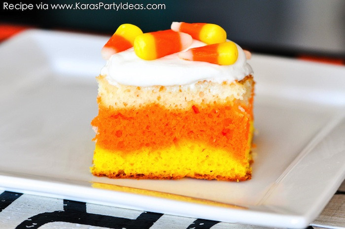 Fun Easy Dessert Recipes  Kara s Party Ideas Candy Corn Poke Cake Halloween Recipe