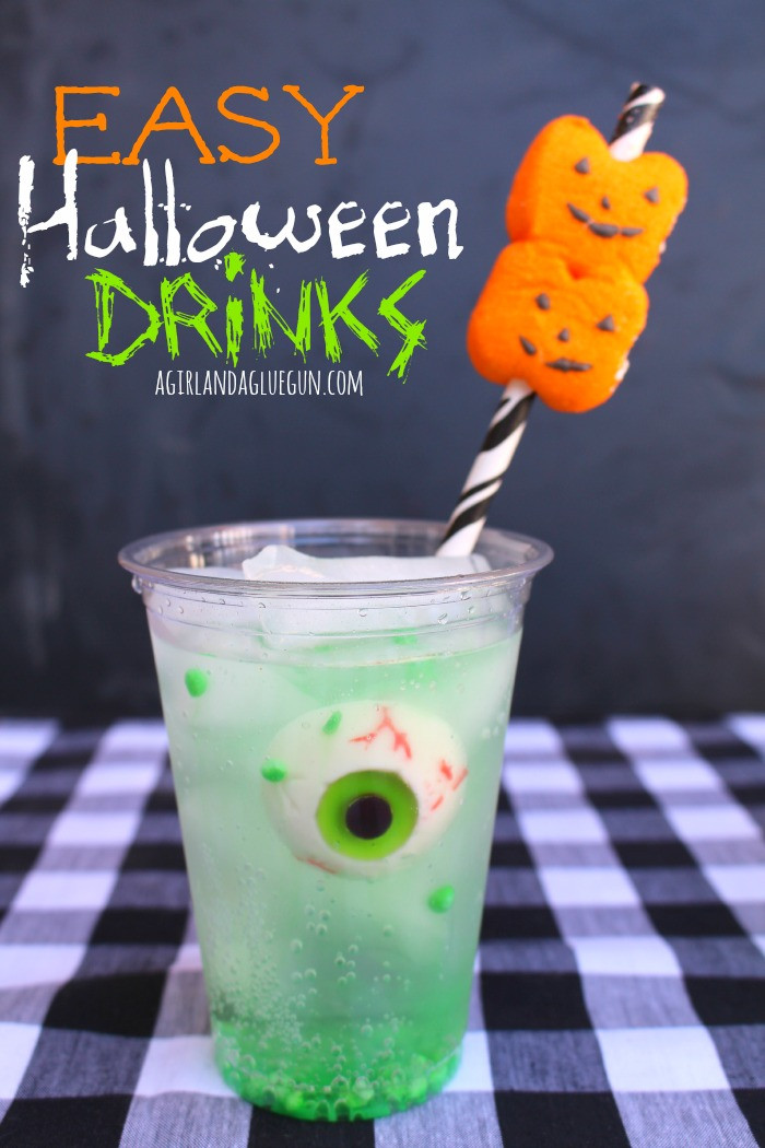 Funny Halloween Drinks  easy halloween drink with peep straws A girl and a glue gun