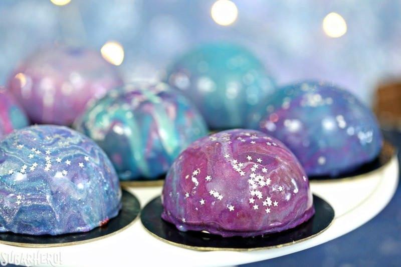 Galaxy Cake Recipe  Galaxy Mousse Cakes with Mirror Glaze SugarHero