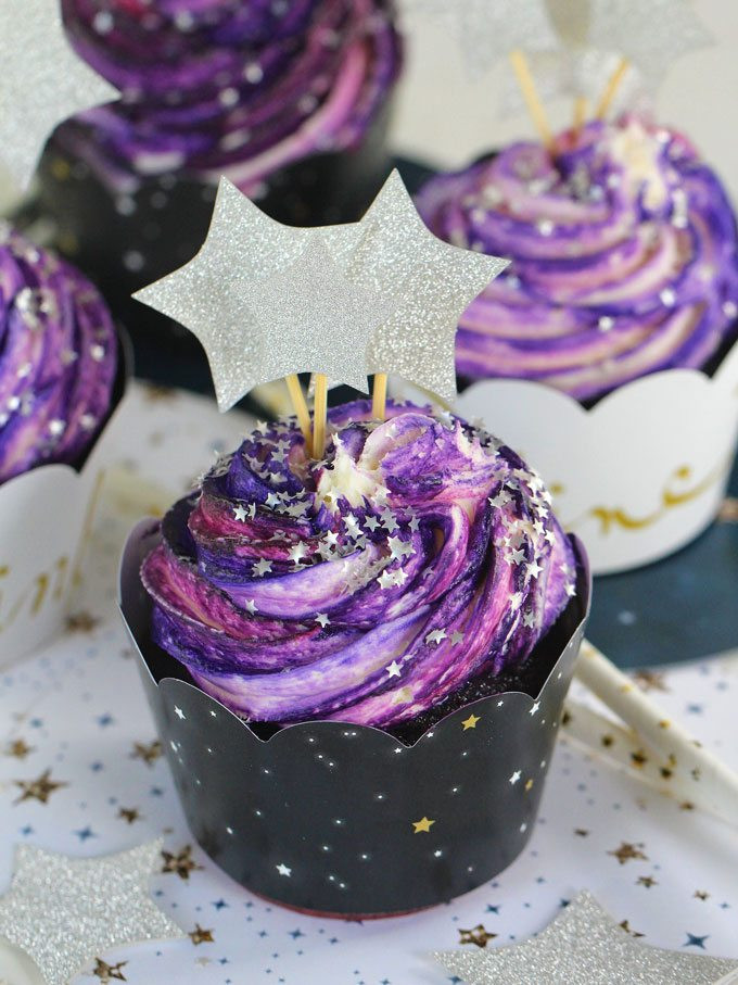 Galaxy Cake Recipe  Galaxy Cupcakes With a Trick VIDEO Sweet and Savory