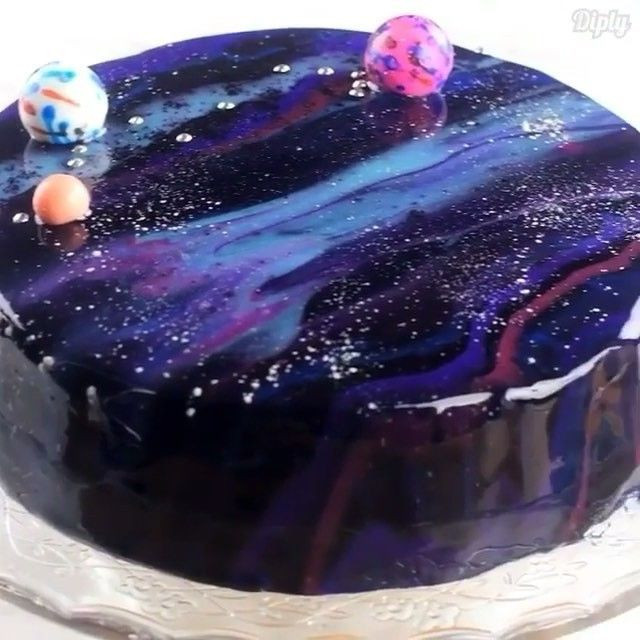 Galaxy Cake Recipe  Now you to learn how to make it Mirror Glaze Galaxy