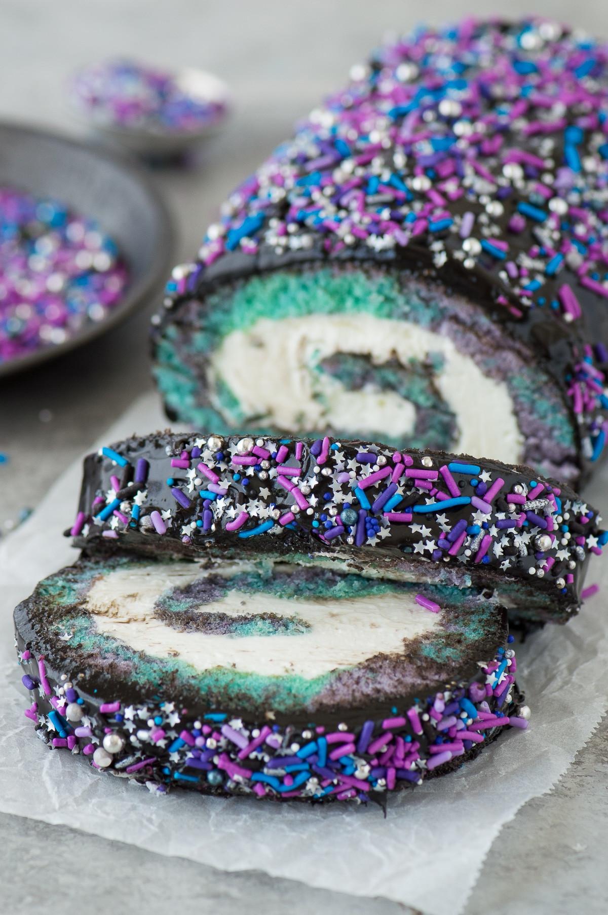 Galaxy Cake Recipe  Galaxy Cake Roll