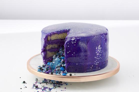 Galaxy Cake Recipe  Galaxy Mirror Cake Recipe Genius Kitchen