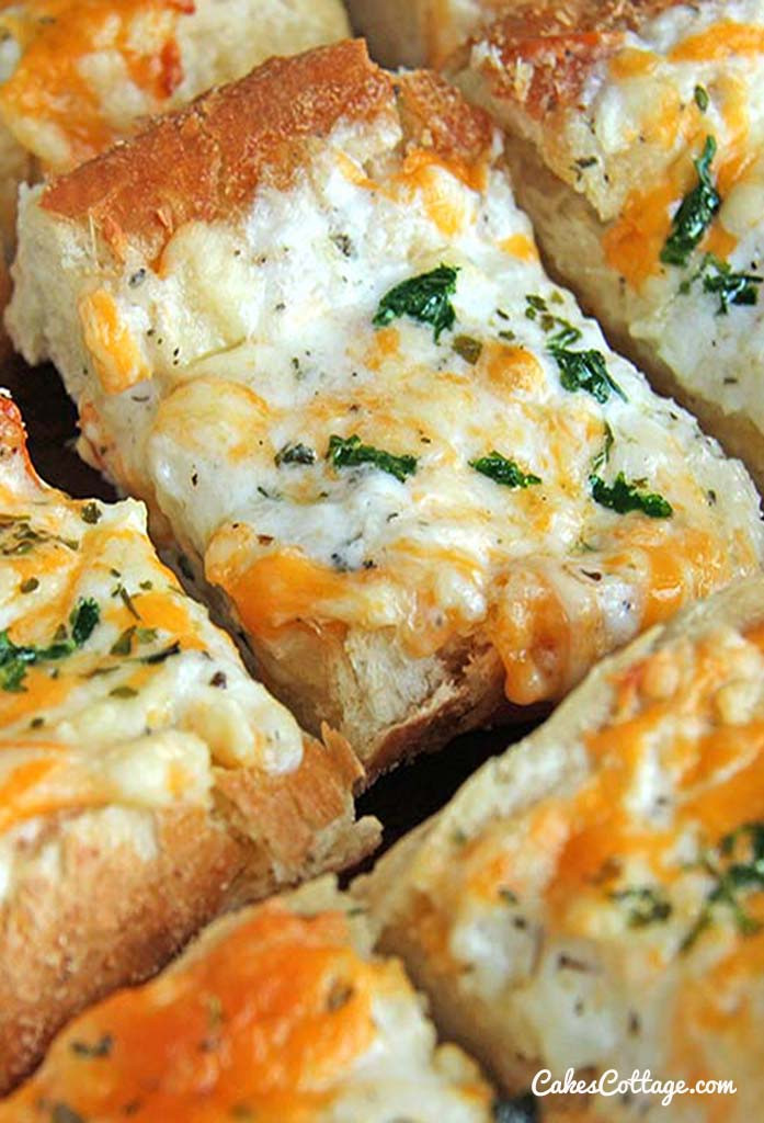 Garlic Cheese Bread  Bubbly Cheese Garlic Bread Recipe Cakescottage