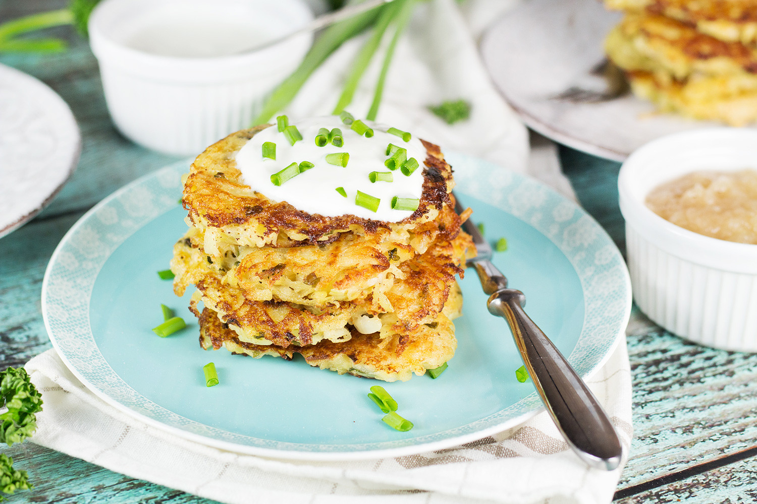 German Potato Pancakes  German Potato Pancakes Kartoffelpuffer w Two Toppings