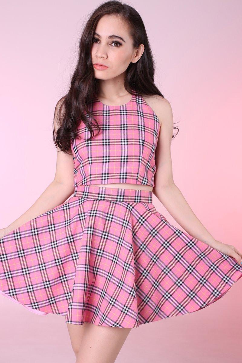 Glitters For Dinner  Made To Order Pink Tartan Halter & Skirt Set
