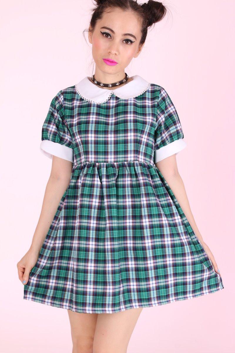 Glitters For Dinner  Glitters For Dinner — Annabelle Dolly Dress in Green Tartan
