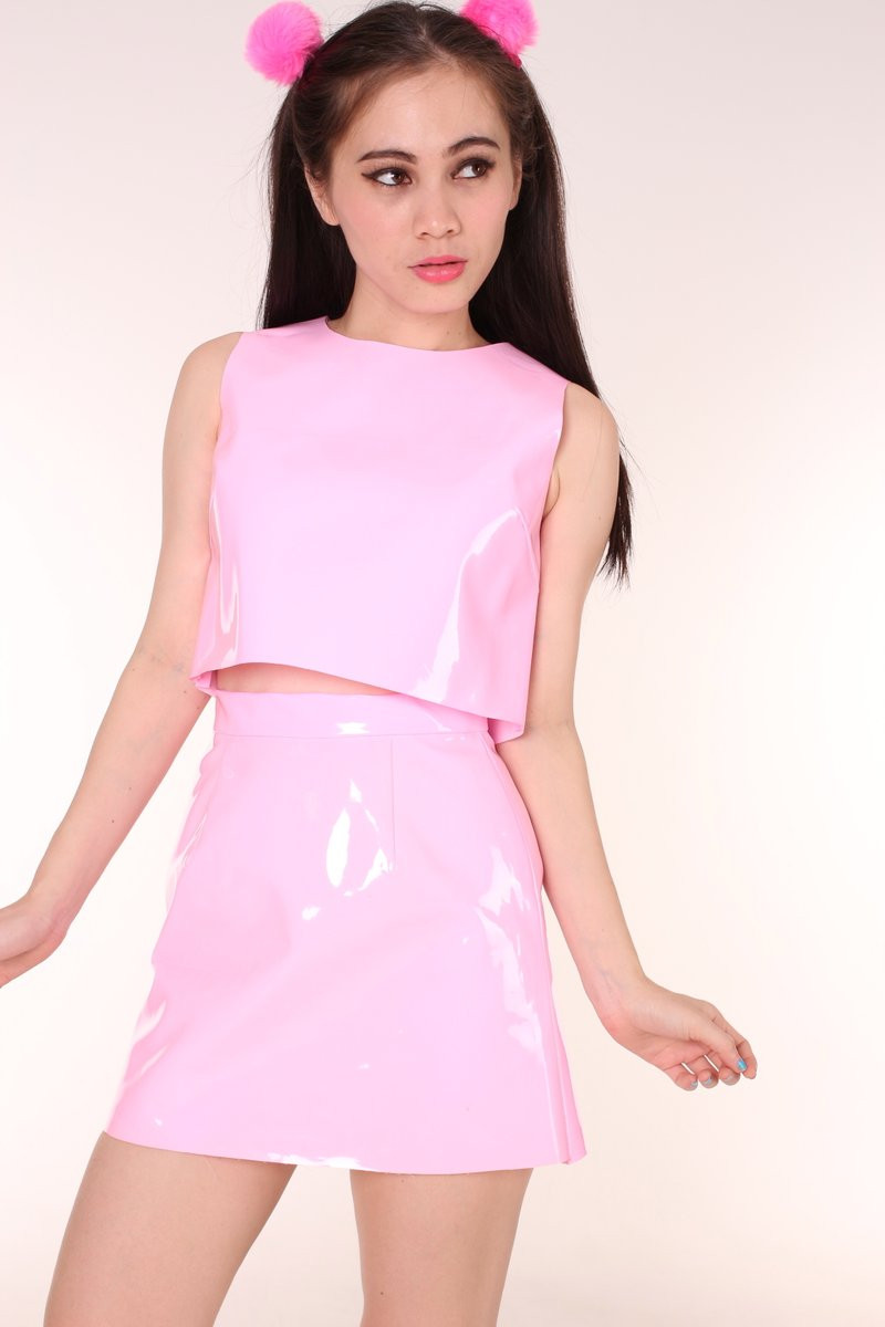 Glitters For Dinner  Made To Order Pink PVC Motel Set