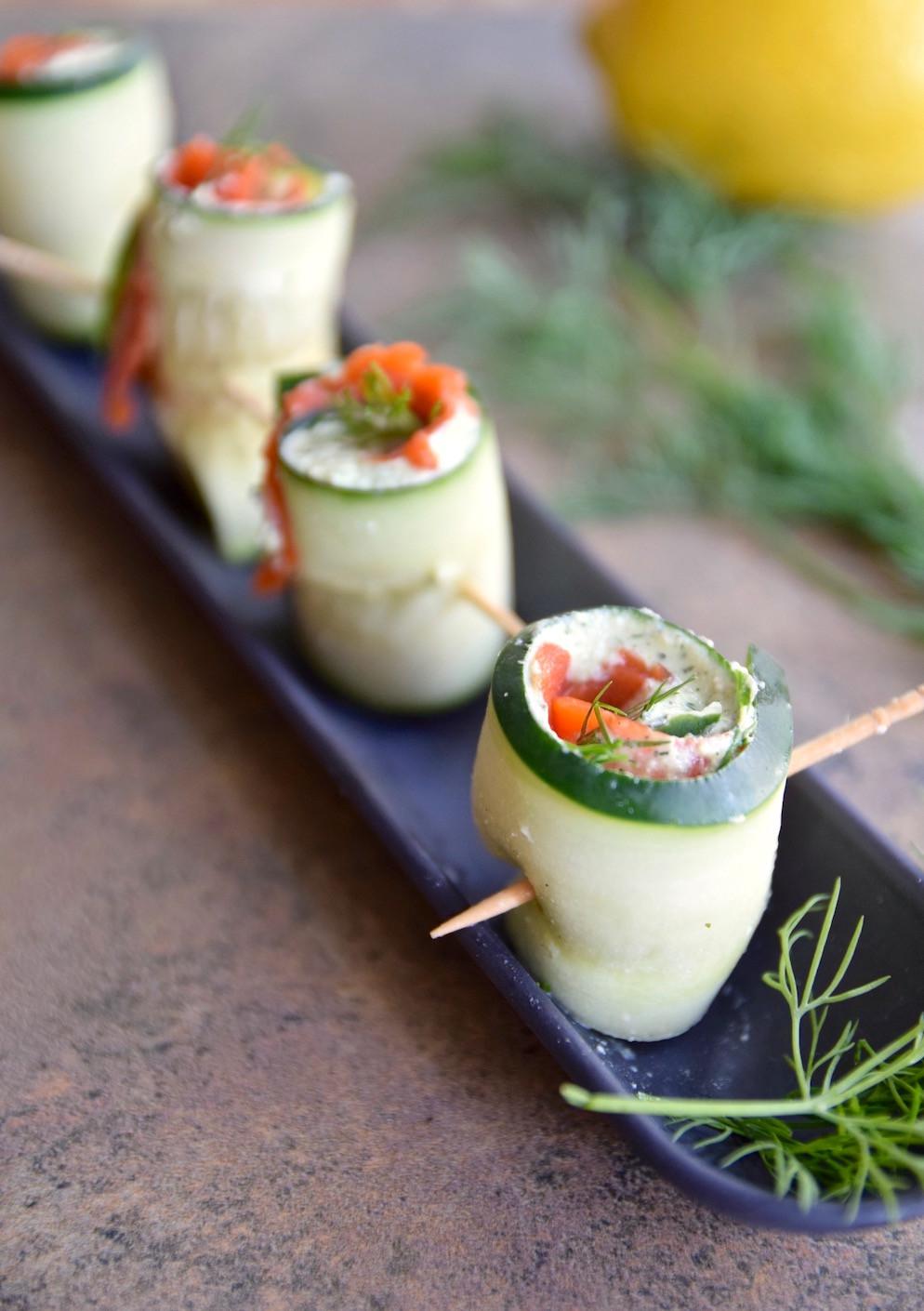 Gluten Free Dairy Free Appetizers  Salmon Cucumber Roll Ups Gluten Free Dairy Free