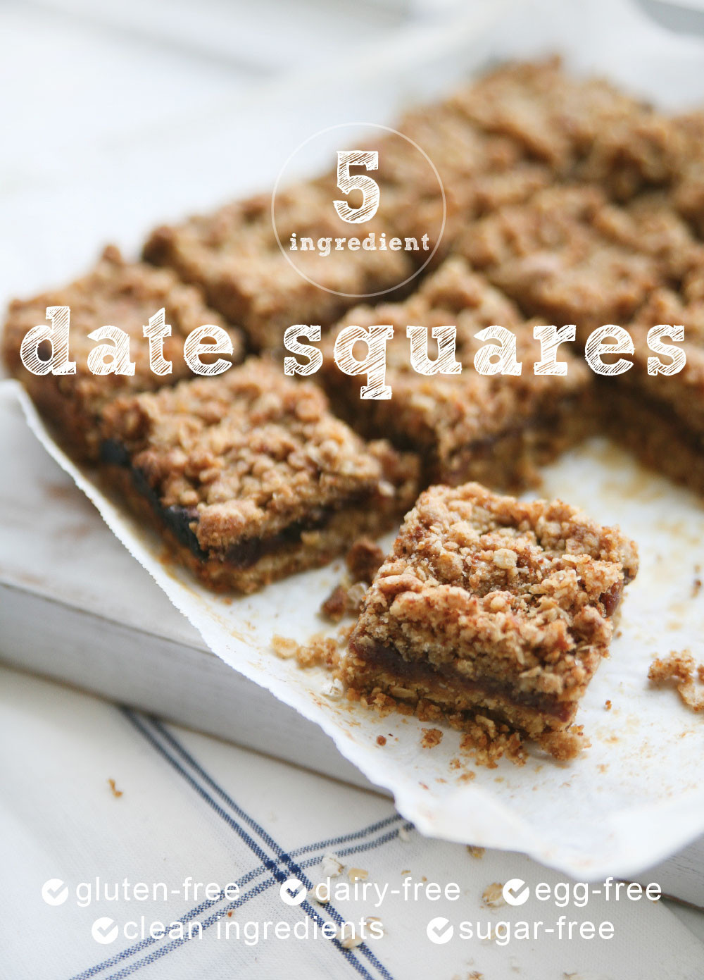 Gluten Free Dessert Recipes With Normal Ingredients  5 Ingre nt Gluten free Healthy Date Squares Pure Ella