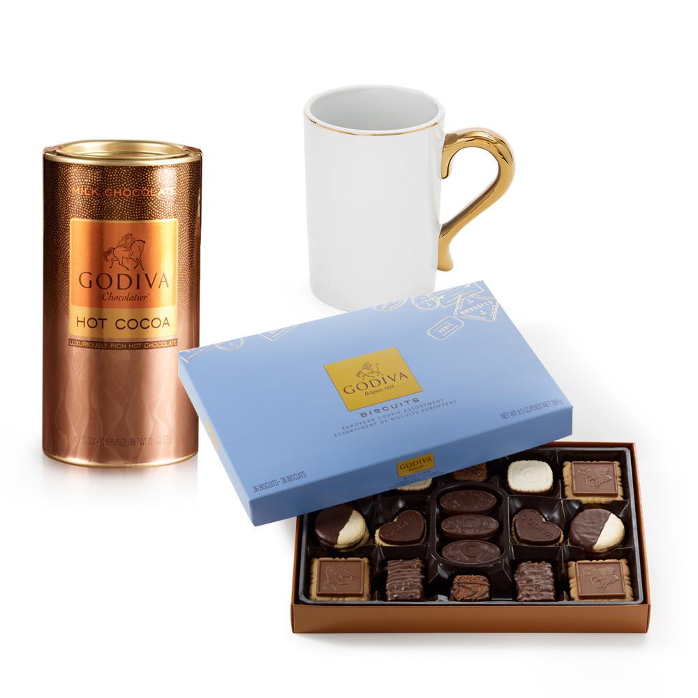 Godiva Hot Chocolate  Gold Handle Mug with Milk Chocolate Hot Cocoa & Chocolate