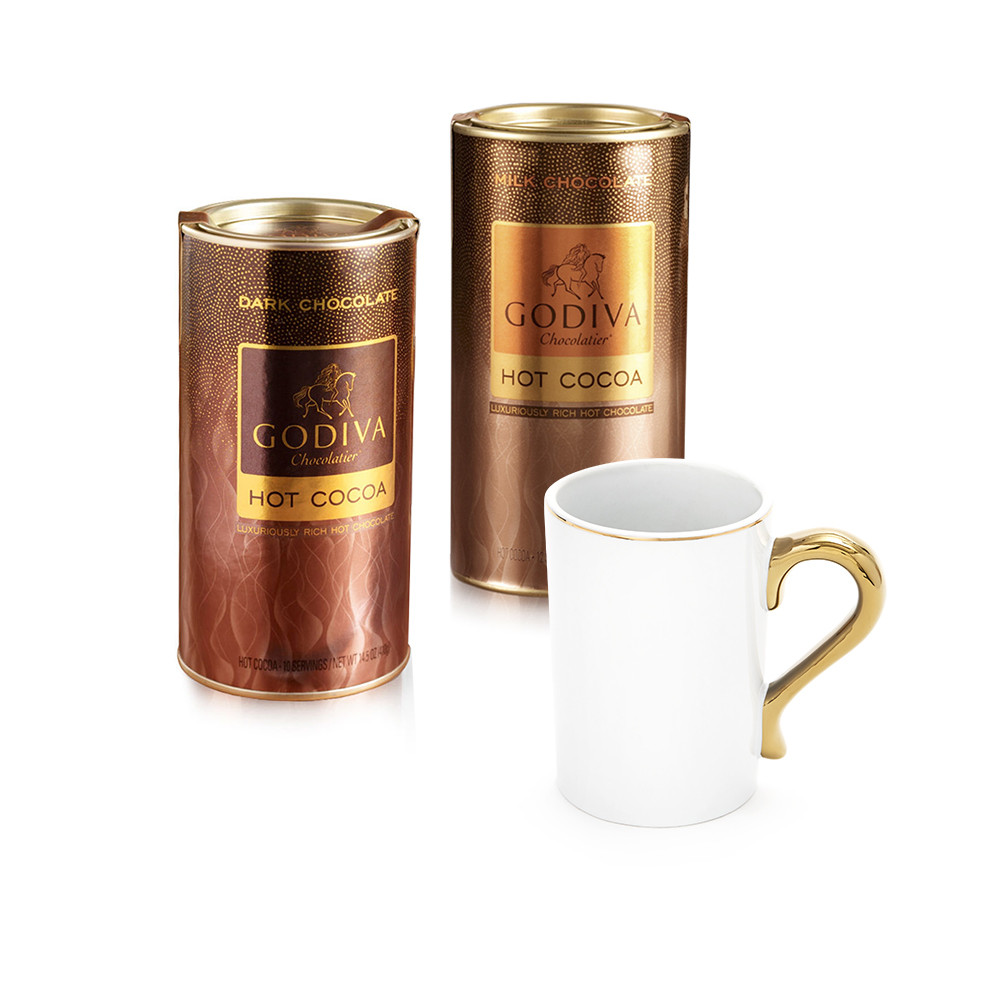 Godiva Hot Chocolate  Mug with Set of Milk and Dark Hot Cocoa