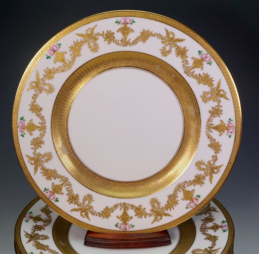 Gold Dinner Ware  12 Hutschenreuther China Gold Encrusted Hand Painted Roses
