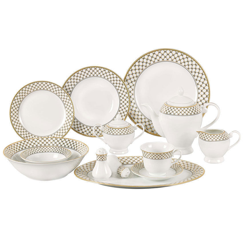 Gold Dinner Ware  Annabelle 57 Piece Porcelain Dinnerware Set for 8 Gold and