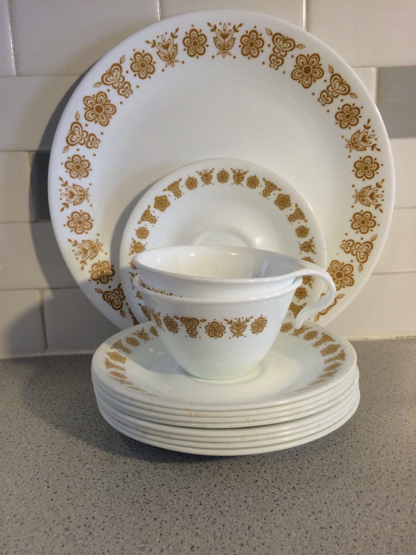 Gold Dinner Ware  Pyrex Corelle Butterfly Gold Dinnerware