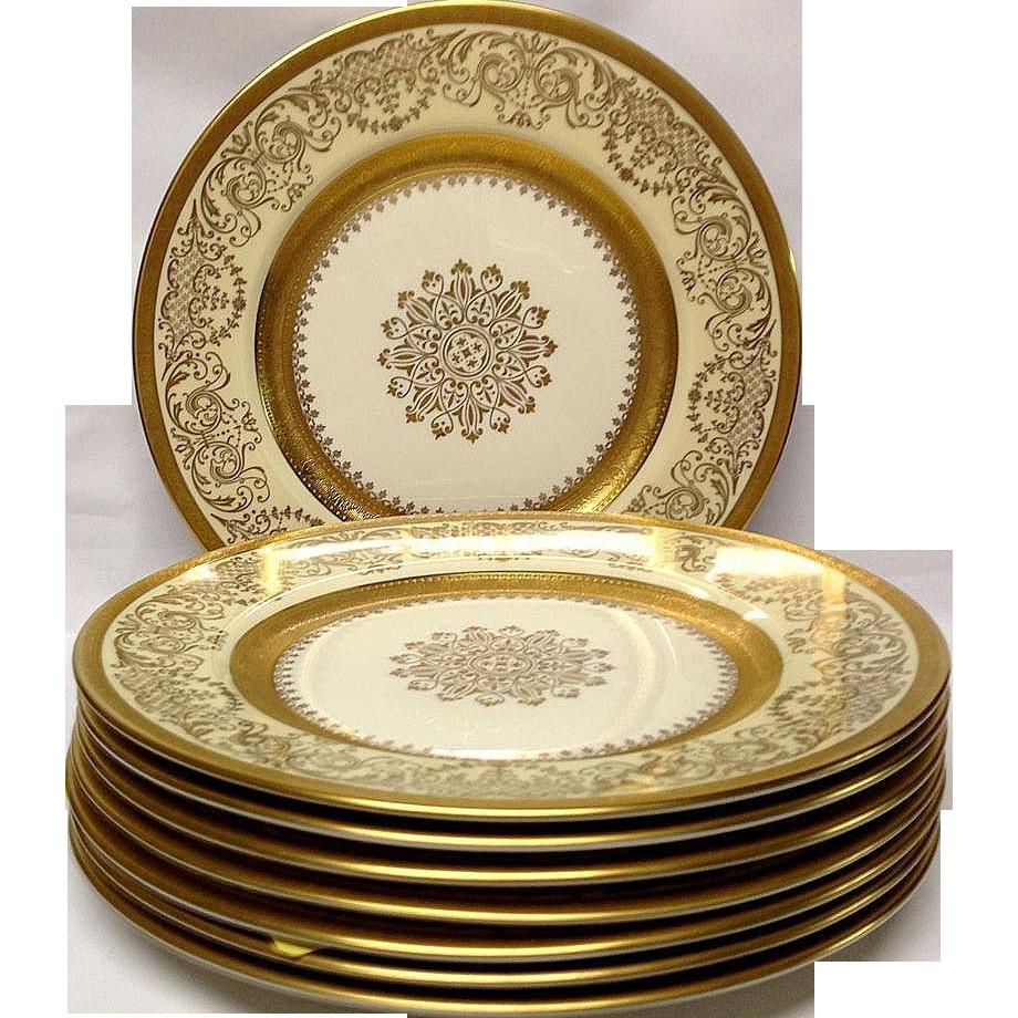 Gold Dinner Ware  Set 8 Edgerton Pickard Gold Encrusted Dinner Plates from