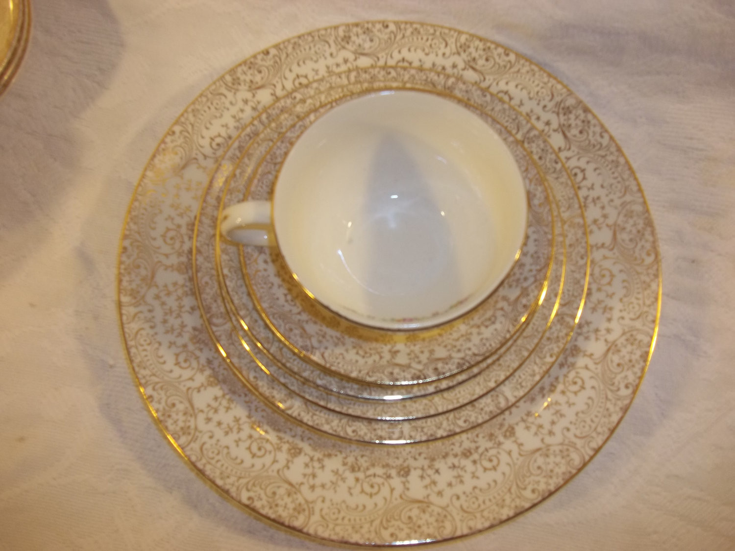 Gold Dinner Ware  Vintage Antique Liberty Gold Dinnerware Set Plate Cup Saucer