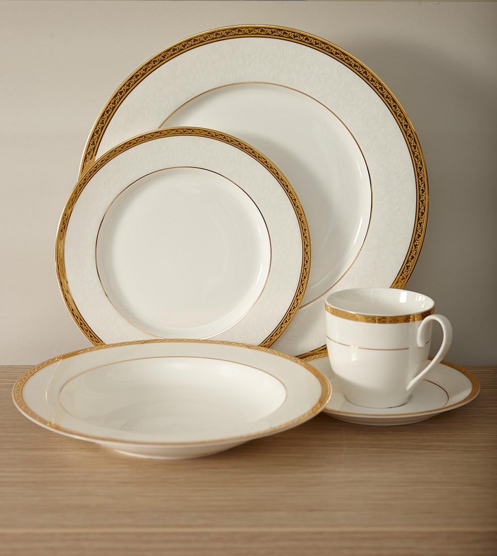 Gold Dinner Ware  Bone China Gold Dinnerware Set Inspired style better living