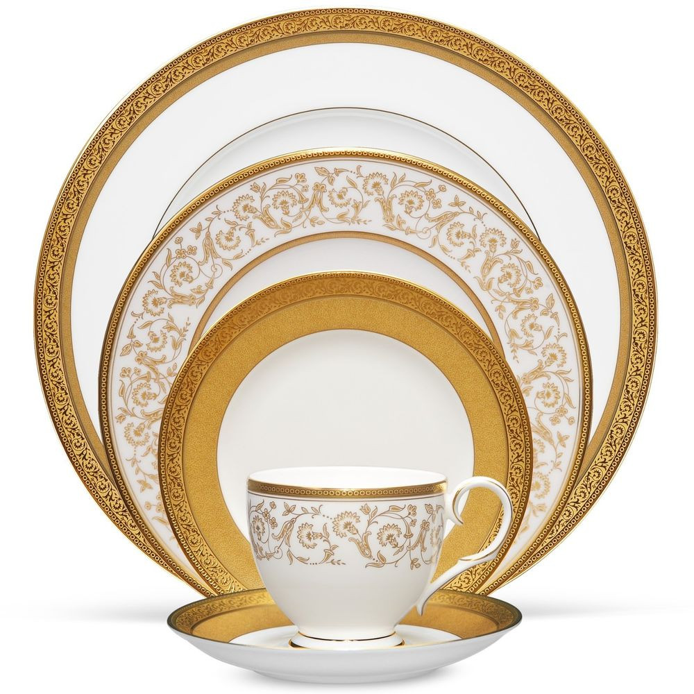 Gold Dinner Ware  Noritake Summit Gold 20Pc China Set Service for 4