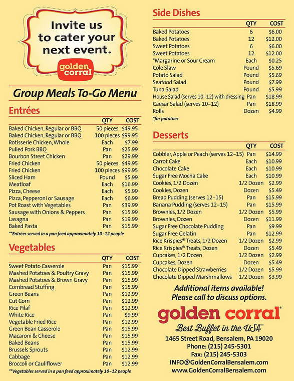 Golden Corral Dinner Menu  Golden Corral Menu and Prices 2018 RestaurantFoodMenu