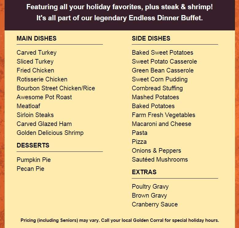 Golden Corral Dinner Menu  Golden Corral Thanksgiving Menu 2015 Dinner Hours