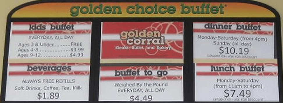 Golden Corral Dinner Menu  Golden Corral Lunch MenuMenu World
