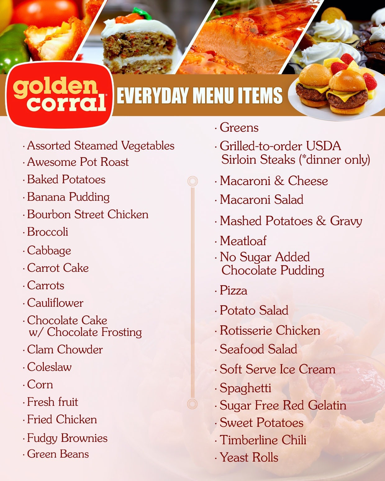 Golden Corral Dinner Menu  Golden Corral Breakfast Menu