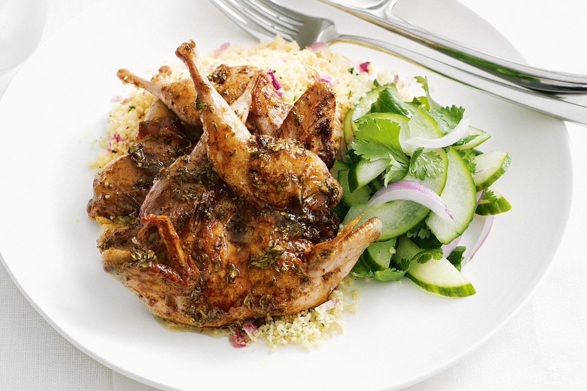 Gourmet Dinner Recipes  Moroccan quail with rose petal sauce and cucumber relish