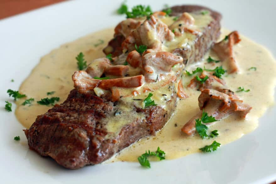 Gourmet Dinner Recipes  Steak With Creamy Chanterelle Sauce Recipe The Daring
