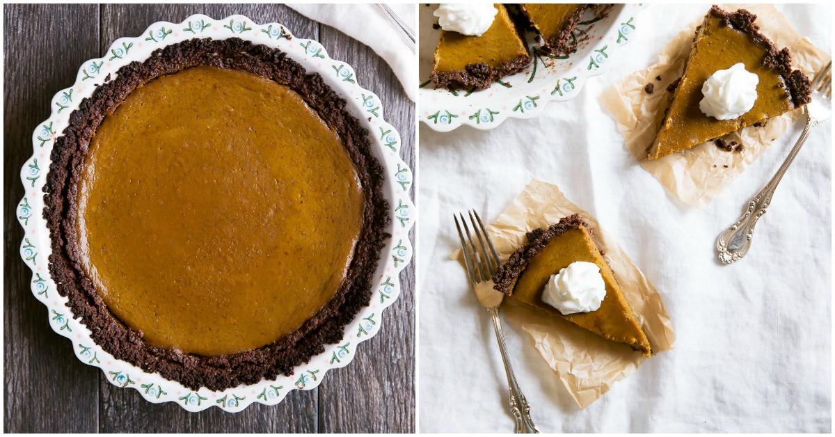 Graham Cracker Crust Pumpkin Pie  Healthy Pumpkin Pie with Chocolate Graham Cracker Crust