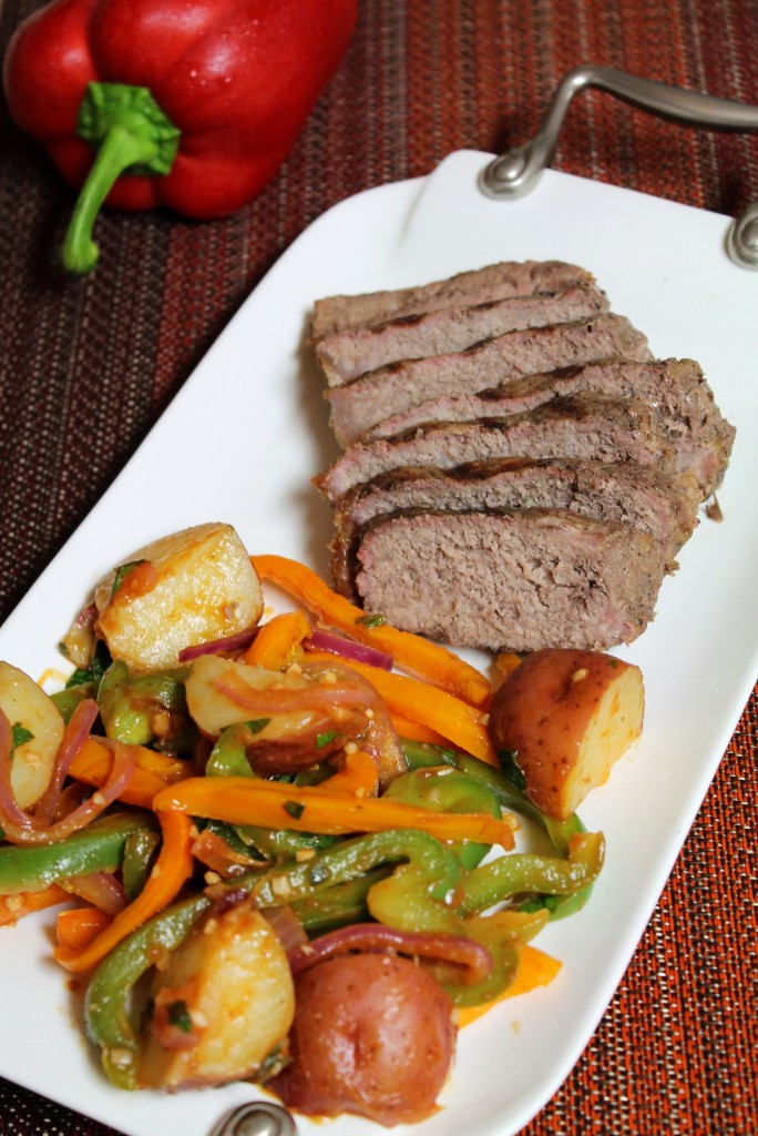 Great Steak And Potato  Grilled Steak with Peppers and Potatoes