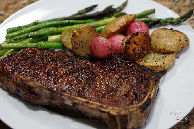 Great Steak And Potato  Roasted Radishes Recipe with steak and asparagus
