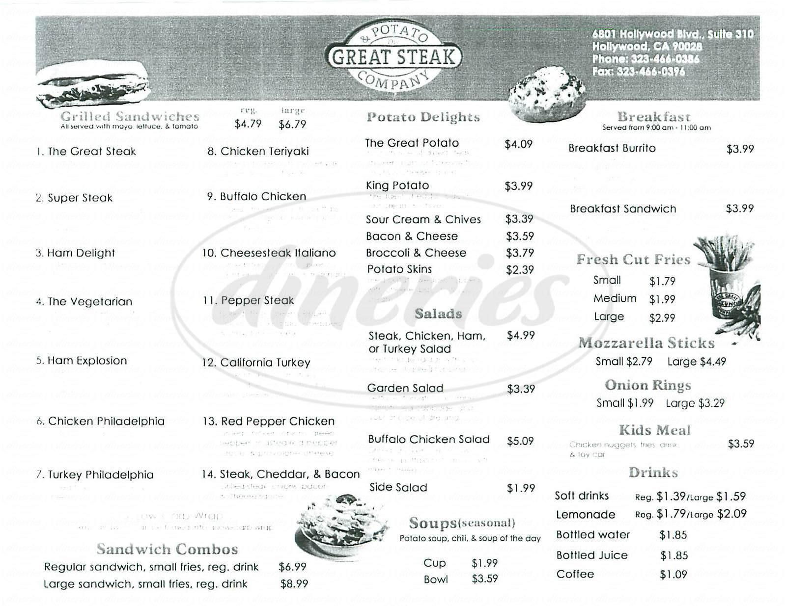 Great Steak And Potato  Great Steak & Potato pany Menu Los Angeles Dineries