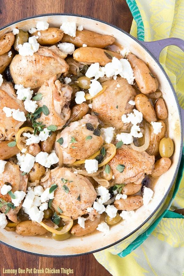 Greek Chicken Thighs  Lemony e Pot Greek Chicken Thighs