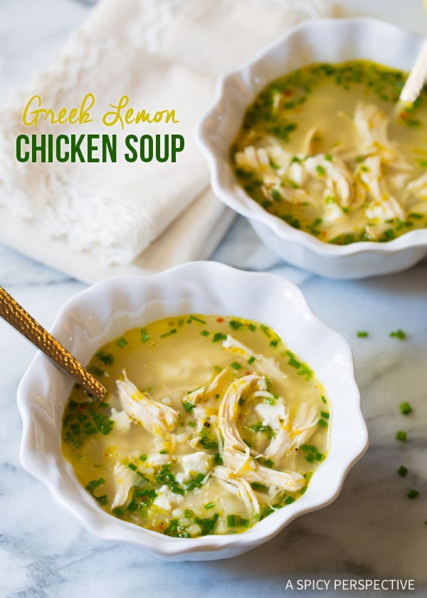 Greek Lemon Chicken Soup  Greek Lemon Chicken Soup A Spicy Perspective