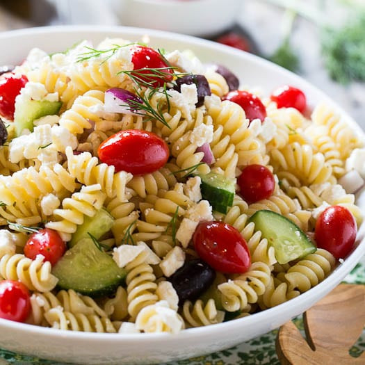 Greek Pasta Salad  Greek Pasta Salad Recipe Spicy Southern Kitchen