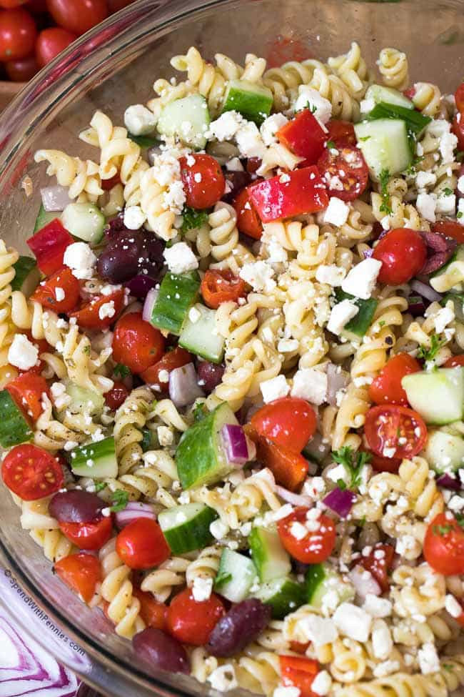 Greek Pasta Salad  Easy Greek Pasta Salad Spend With Pennies