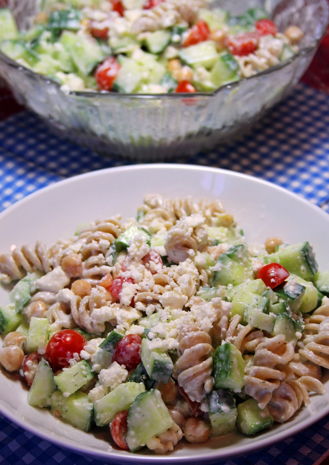 Greek Pasta Salad  Jo and Sue Greek Pasta Salad With Creamy Feta Dressing